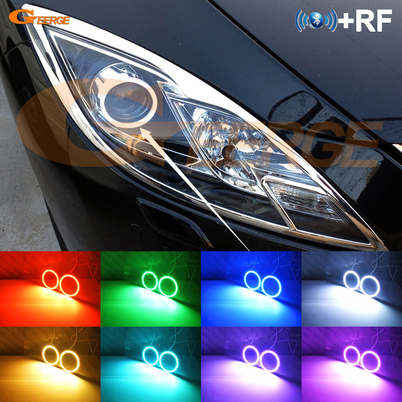 For <font><b>mazda</b></font> <font><b>6</b></font> Mazda6 MK2 2008 2009 <font><b>2010</b></font> 2011 2012 Ruiyi RF Bluetooth Controller Multi-Color Ultra bright RGB <font><b>LED</b></font> Angel Eyes kit image