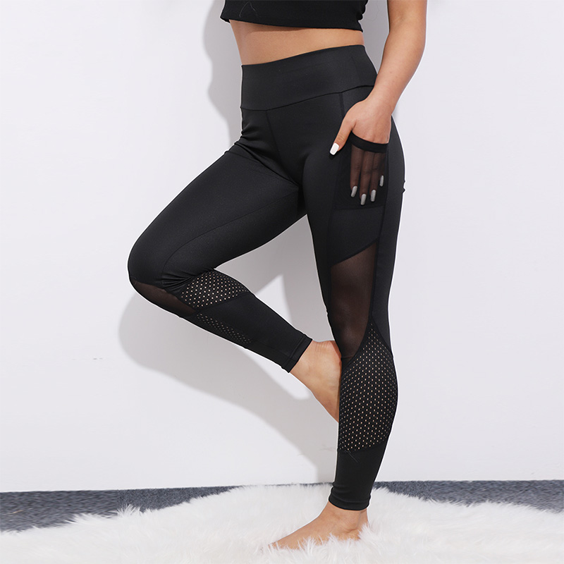 Heart-shaped Pocket Patchwork Mesh Leggings Women Sexy Workout Activewear Push Up Pants Elastic High Waist Fitness Fashion New