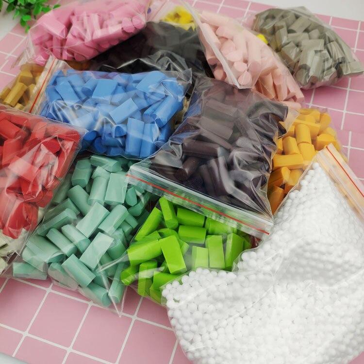 70pc/bag Sponge Block Additives In Slime Filling Diy Grass Jelly Coconut Fruit Mud Foam Strip 15 Colors Stuff Foam Slime Clay