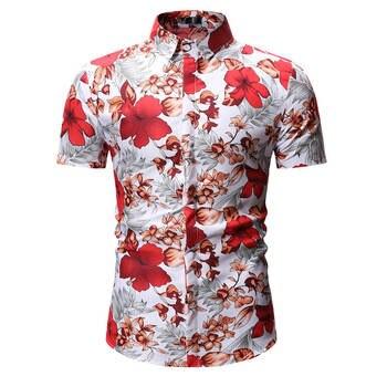 3c7202ff97f7358 Мужская гавайская рубашка мужской повседневное camisa masculina Печатных  Пляжные рубашки короткий рукав лето для мужчин одежда 2019 Азиатский разме.