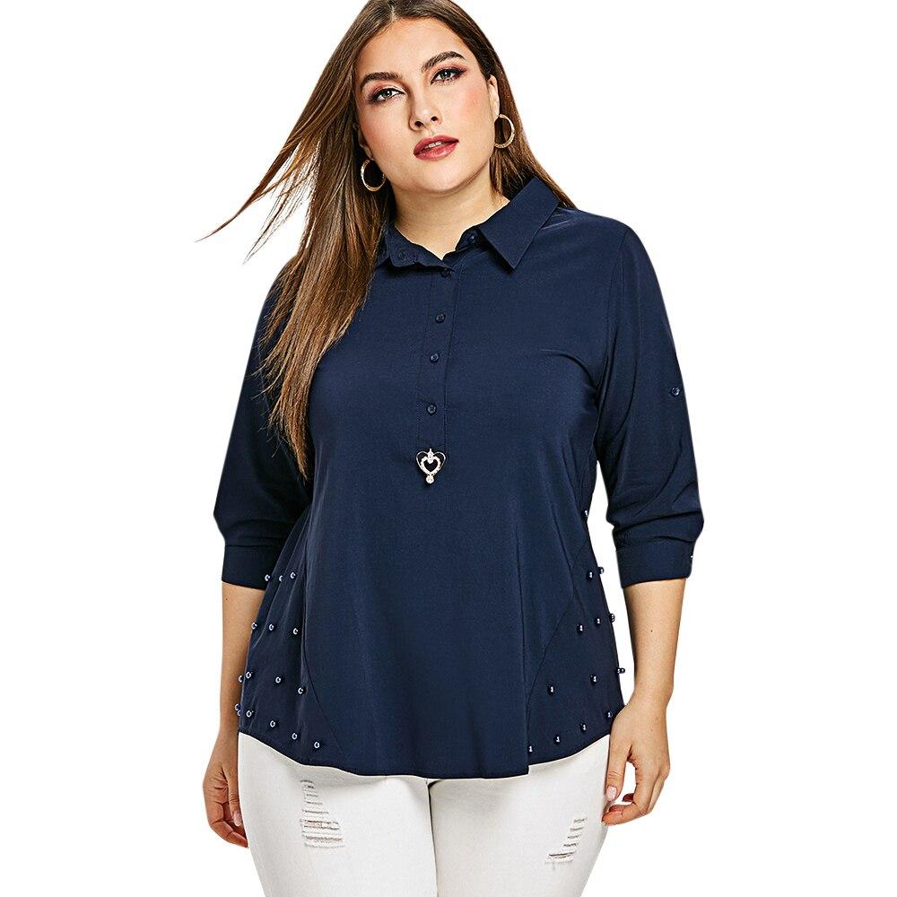Wipalo 2019 Fashion Women Faux Pearl Half Button Plus Size Shirt Casual Solid OL Blouse Shirt Big Size 4XL Spring Ladies Shirts