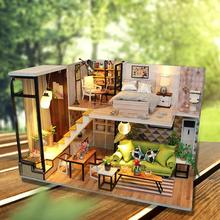 купить DIY Doll Model Wooden Miniature Doll House Furniture Handmade Building Blocks Gift Toys 3D Wooden Dollhouse Christmas Gifts Toys по цене 1303.93 рублей
