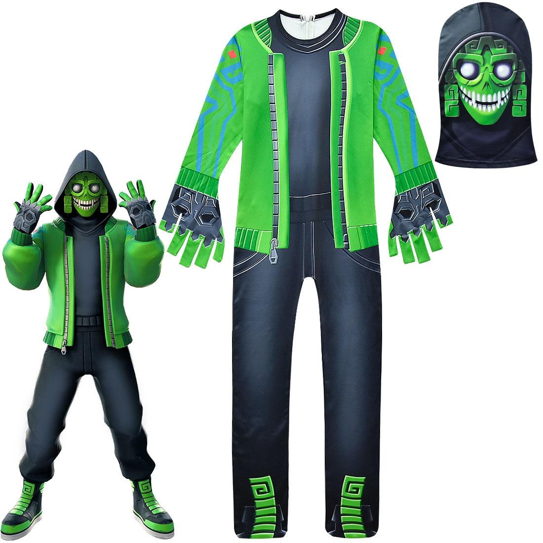 2019 novas crianças fortaleza jogo cosplay trajes meninos meninas fort cos verde macacão jogo batalha traje com chapelaria máscara