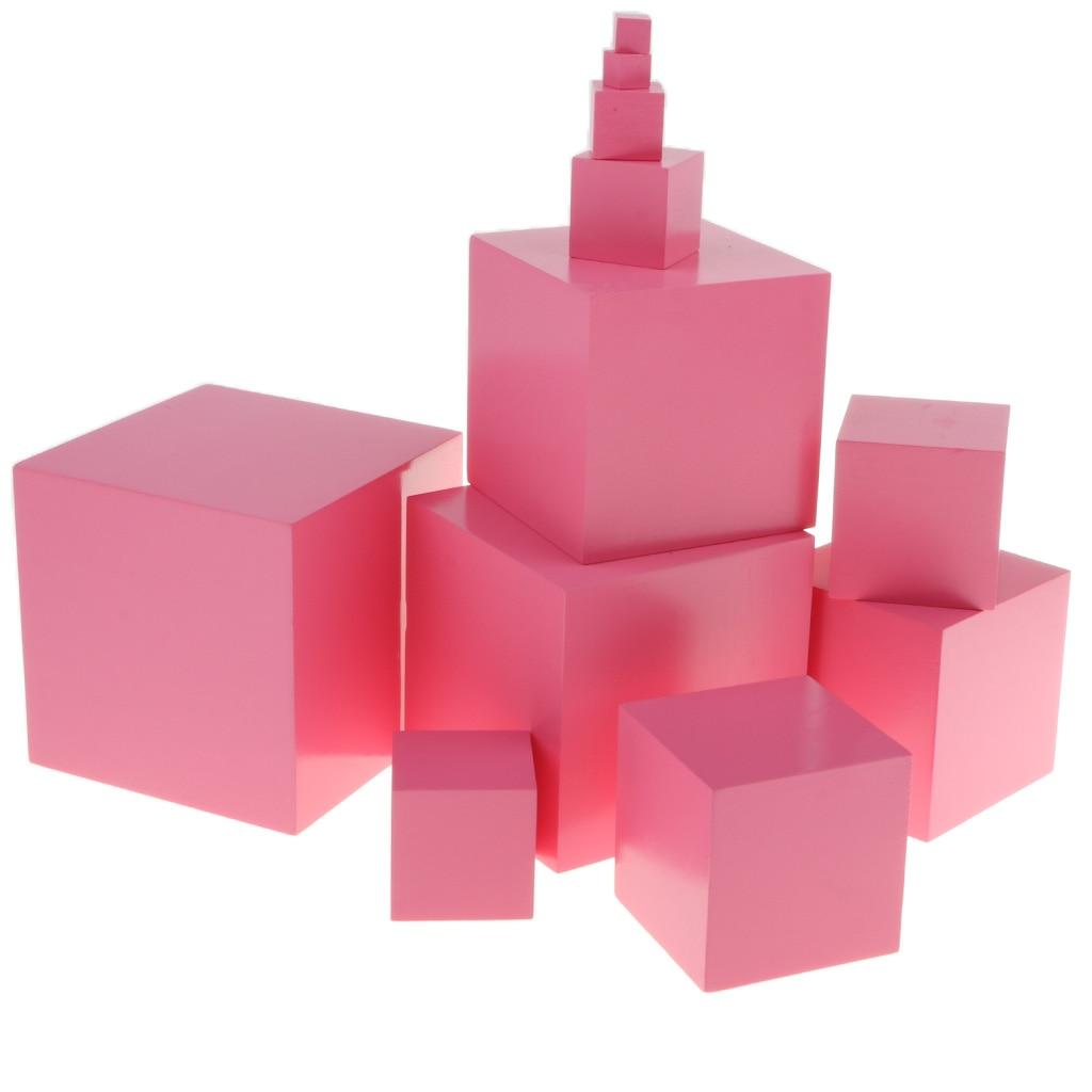 Montessori matériaux sensoriels rose tour famille Set blocs de construction en bois (10 pièces)