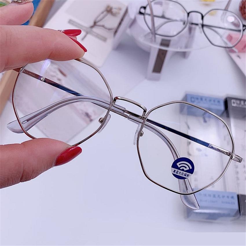 UVLAIK Vintage Anti Blue Light Glasses Frame Round Lens Myopia Optical Mirror Simple Metal Women Men Transparent Eyewear Frames