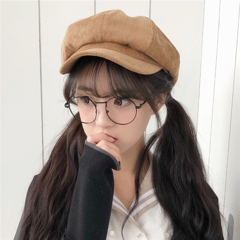 Hats Autumn And Winter Lovely Corduroy Painter Octagonal Korean Japanese Restore Ancient Ways Literature Peaked Cap in Women 39 s Visors from Apparel Accessories