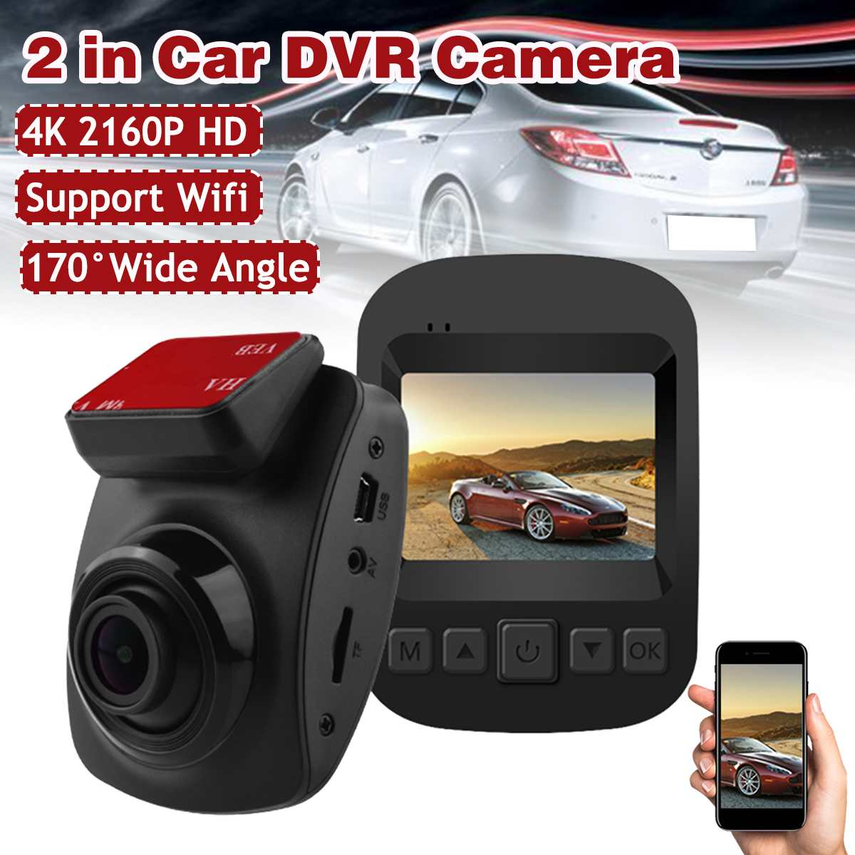 4K Ultra HD GPS Car Dash Cam 2160P 60fps ADAS DVR With 1080P Sensor Rear Camera