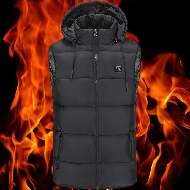 5285e1941 US $30.59 28% OFF|Heated Vest Winter Down Youth Warm Jacket USB Charging  Cotton Smart Heating Vest Hooded Electric Cotton Clothing Heating  Clothes-in ...