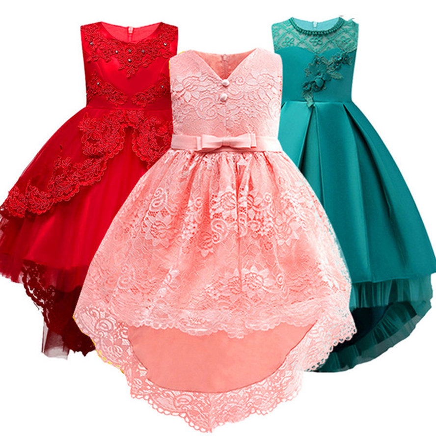 Kids Dresses for Girls Party Dress Trailing Elegant Wedding Flower Girl Dress Princess  Pageant Formal Long Sleeveless Lace 4-14 Платье
