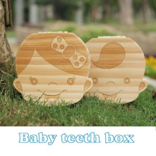 Tooth Box Wooden Baby Teeth Box Save Milk Teeth Lanugo Hair Wood Storage Box Wood Storage Box For Boy&Girl