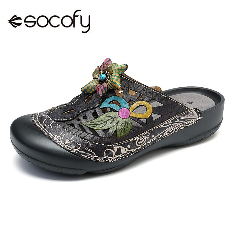 SOCOFY Handmade Genuine Leather Vintage Floral Pattern Hollow Stitching Soft Slip On Sandals Summer Casual Women Flat Shoes New