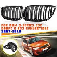 Gril de calandre double ligne de voiture noir brillant pour BMW E92 E93 série 3 M3 E90/E92/E93 coupé cabriolet 2007 2008 2009 2010