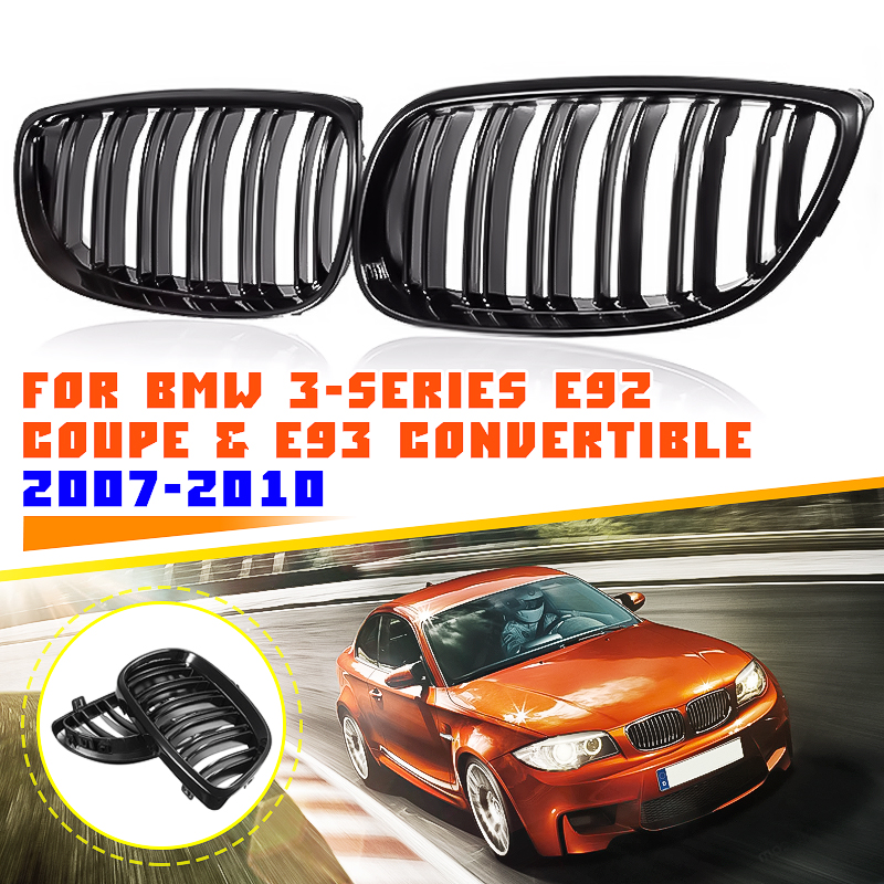 Pair Gloss Black Car Dual Line Front Grille Grills For BMW E92 E93 3-Series M3 E90/E92/E93 Coupe Convertible 2007 2008 2009 2010