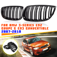 Pair Gloss Black Car Dual Line Front Grille Grills For BMW E92 E93 3 Series M3 E90/E92/E93 Coupe Convertible 2007 2008 2009 2010