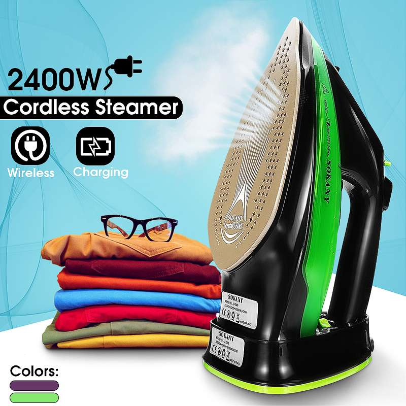Adjust 5 Speed Cordless Wireless Charging Portable Steam Iron 2400W Clothes Ironing Steamer Portable Ceramic Soleplate EU PlugAdjust 5 Speed Cordless Wireless Charging Portable Steam Iron 2400W Clothes Ironing Steamer Portable Ceramic Soleplate EU Plug