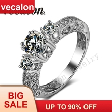 Vecalon Antique Jewelry Three-stone AAAAA Zircon Cz 14KT White Gold Filled Engagement Wedding band Ring for Women Sz 5-11
