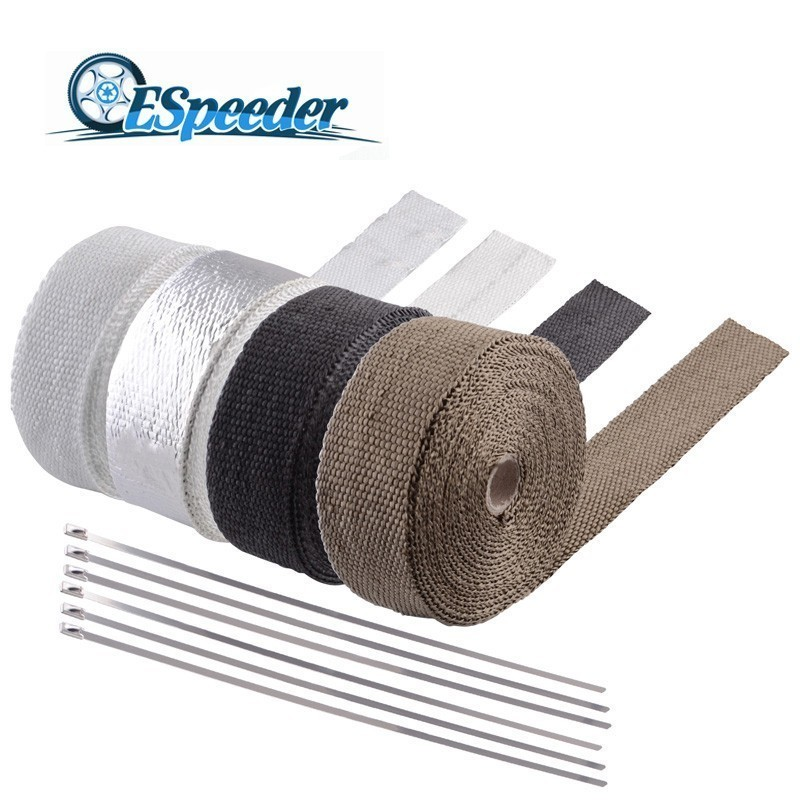 ESPEEDER 2.5cm*5M 10M 15M Exhaust Heat Wrap Roll For Motorcycle Fiberglass Heat Shield Tape With 6Pcs Stainless Ties Brown/Black