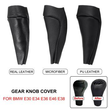 Car Gear Knob Cover Case PU Leather Shifter Case Covers Microfiber For BMW E28 E30 E32 E34 E36 E38 E39 E46 X1 X3 X5 Z1 Z3 Z4 image