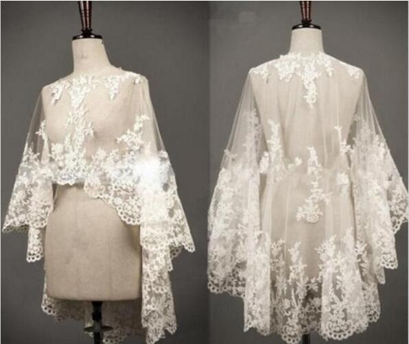 2019 White Ivory Bride Wedding Jacket Shawl Women Fashion Lace Cape Bidal New Your Wedding Accessori