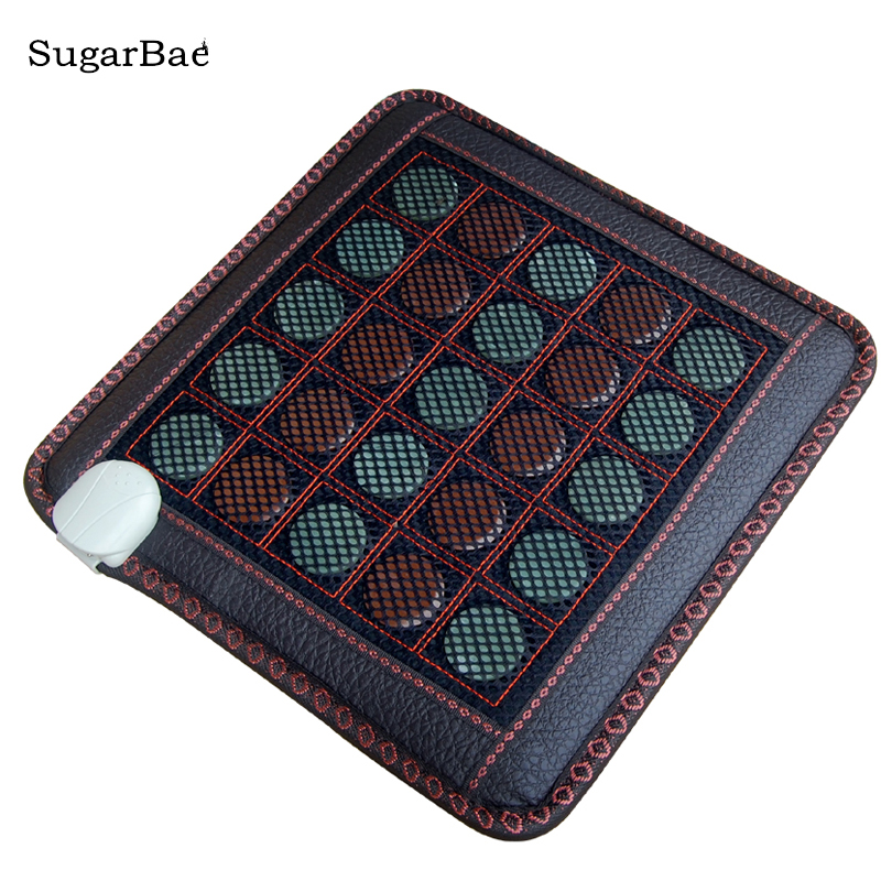 Natural Tourmaline Cushion Jade Heat Mat Physical Therapy Health Care Pad Free Shipping hot natural jade seat cushion germanium stone tourmaline heated mat jade health care physical therapy mat 45x45cm free shipping
