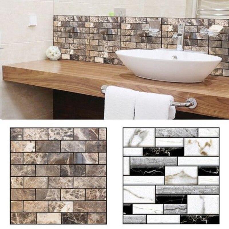 Brand New Style 3d Wall Sticker Tile Brick Self Adhesive Mosaic Kitchen Bathroom Wall Decor Home Decor Wall Stickers Aliexpress