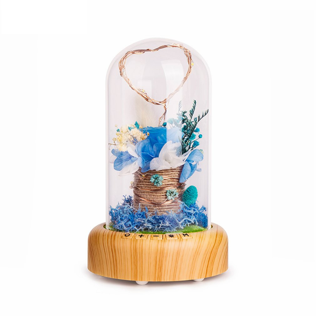 LICG Rose Streamer Bottle Led Night Light Rechargeable Wireless Bluetooth Speaker With Flower In Glass Decoration Table Lamp B