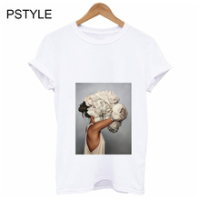 Summer T-shirt For Women Aesthetic Flowers Feather Print Sex Ladies Tee Shirt Short Sleeve Harajuku 90s White Graphic T shirts