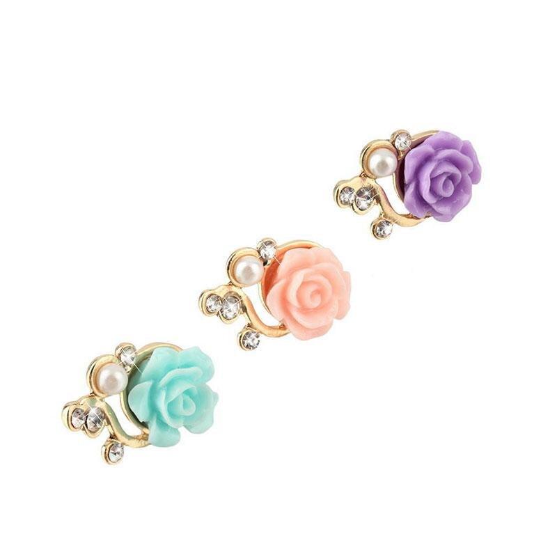 Group Vertical Elegant Rose Flower 3D Crystal Pearl Anti Dust Plug Charms Mobile Phone 3.5mm Earphones Hole Accessories r29