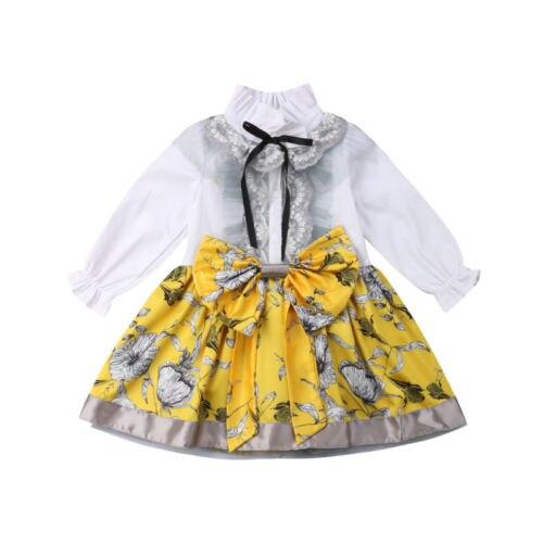dcf44cde97 2019 Brand New Toddler Kids Girl Princess Formal Dress Longsleeve Lace Shirt  Patchwork Tutu Chiffon Bowknot Pageant Dresses 1-5T