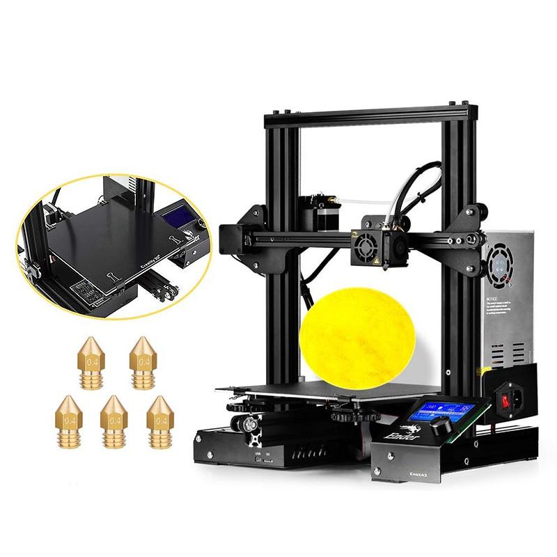 Creality 3D Ender-3X Ender-3 Version Améliorée 3D Imprimante avec Verre Trempé Lit + 5 pièces 0.4mm Buse 220x220x250mm