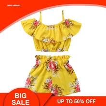Summer Toddler Baby Girl Clothes Floral Halter Top+Shorts Pants Outfits 2pcs Clothing Set new free shipping girl lace white top red pants clothing set 2pcs set baby girl summer clothes baby girl clothing