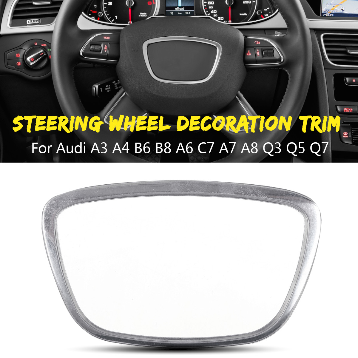 Car Steering Wheel Chrome Sticker Trim Cover Cap Decoration For <font><b>Audi</b></font> A3 <font><b>A4</b></font> B6 B8 A6 C7 A7 A8 Q3 Q5 Q7 image