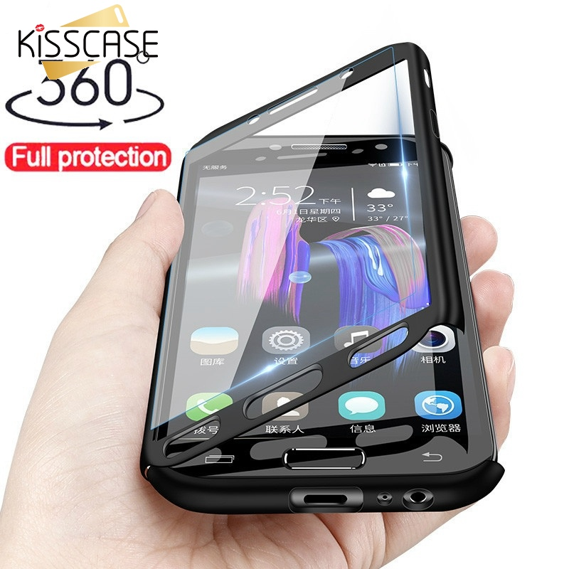 KISSCASE 360 Full Coverage For Samsung S10 S9 S8 Plus S7 S6 Edge Note 9 8 Tempered Glass Case For Samsung A9 A8 A7 J7 J6 Fundas
