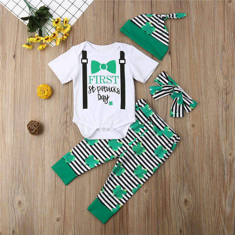 d9a91b8ecee9b Fashion Newborn Baby Boy Girls St Patrick's Day Outfits Short Sleeve Letter  Romper Pants Hat Bow Headband 4Pcs Unisex Sets 0-24M