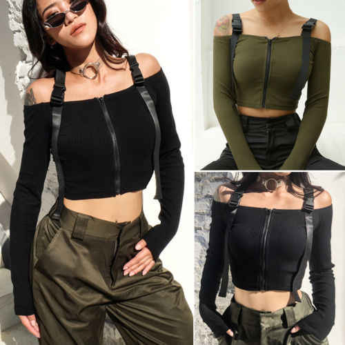 Women Off Shoulder Baggy Ladies Tops Chunky Knitted Oversized Camis Ladies