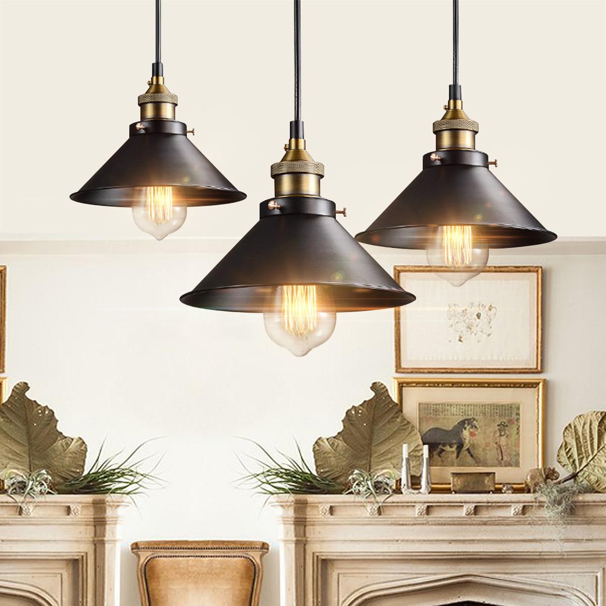 Rétro Lampe de Lumière Au Plafond Rond Vintage Design Industriel Fer Vintage Lumière Déco Ampoule Luminaire