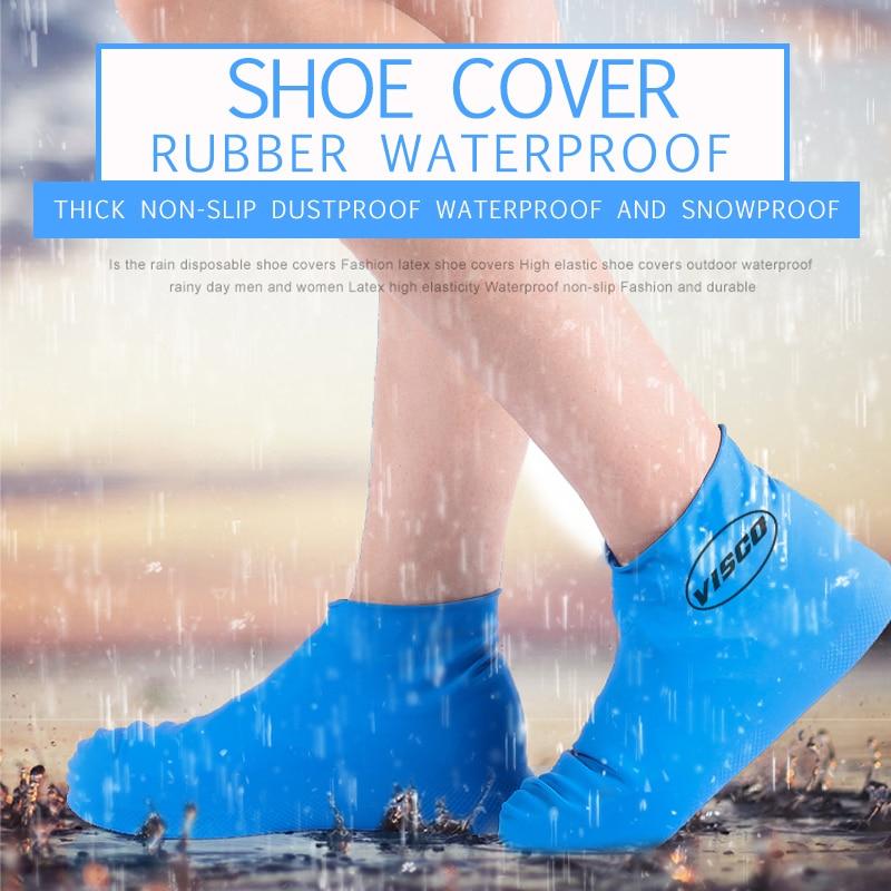1 Pair Reusable Disposable Waterproof Shoe Covers Slip-resistant Rubber  Men Rain Boots High-top Low-shoe Cover M/L Accessories