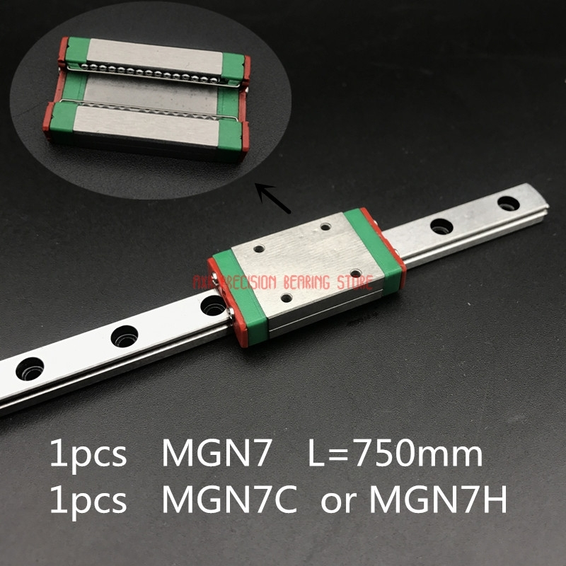 2019 Real New AXK Linear Rail For 7mm Linear Guide Mgn7 L= 750mm Rail Way + Mgn7c Or Mgn7h Long Carriage For Cnc X Y Z Axis2019 Real New AXK Linear Rail For 7mm Linear Guide Mgn7 L= 750mm Rail Way + Mgn7c Or Mgn7h Long Carriage For Cnc X Y Z Axis