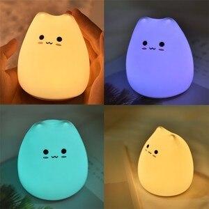 Image 4 - Tier Nacht Lampe Baby 3D Cartoon Kleine Katze Nachtlicht Für Schlafzimmer Lampen AAA Batterie Weihnachten Weihnachten Farbe Geändert Nachtlicht