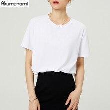 ฤดูร้อนผ้าฝ้ายเสื้อยืด 2019 ผู้หญิงคุณภาพสูง PLUS ขนาด 7XL คอสั้น O Neck สีดำสีเทาสีขาว TEE กระเป๋า Camiseta mujer