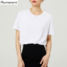Summer Cotton T shirt 2019 Women High Quality Plus Size 7XL O neck Short Sleeve Black Gray White Tee Phone Pouch Camiseta Mujer