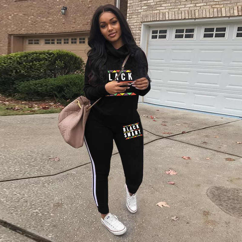 TWO PIECE SET Striped High Waist Letter Tracksuit Pullovered Joggers Pants Women Long Sleeve Sweat Suits Ulzzang Ensemble Femme