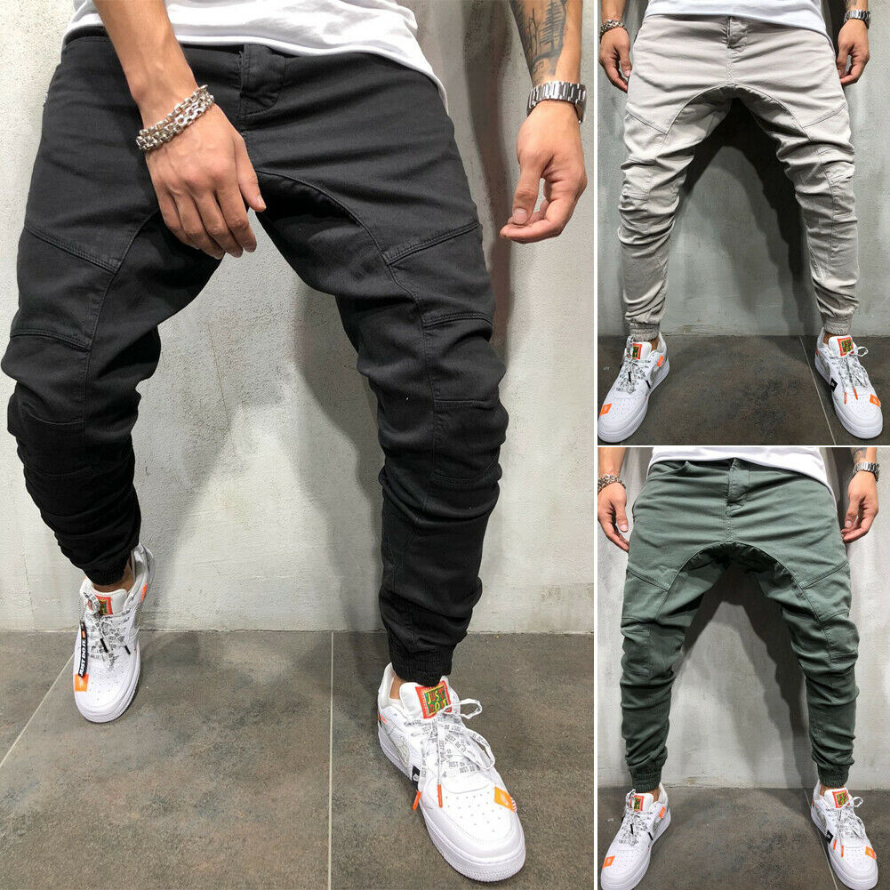 4Color Style 2019 Newest Mens Sweatpants Fitness Bodybuilding Slim Fit Stretch Workout Trousers Men Casual   Baggy Harem  Pants