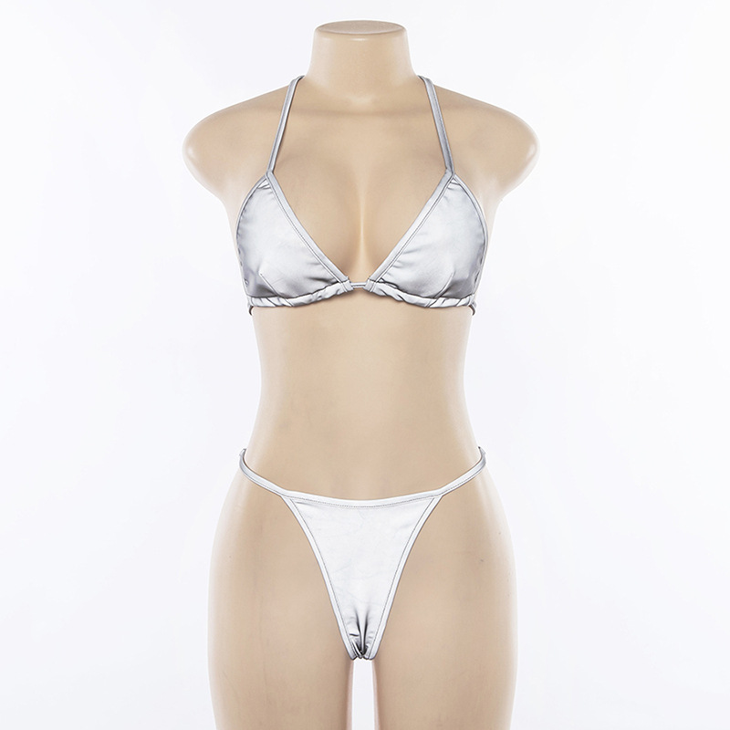 BOOFEENAA Silver Reflective Set Sexy Two Piece Set Halter Crop Top and Thong Shorts Beach Club Outfits 2pc Matching Sets C87AZ02 5