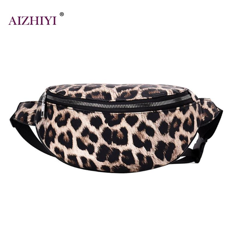 Unisex Leopard Shoulder Waist Bags Men Women Leather Messenger Crossbody Packs Chest Belt Bags