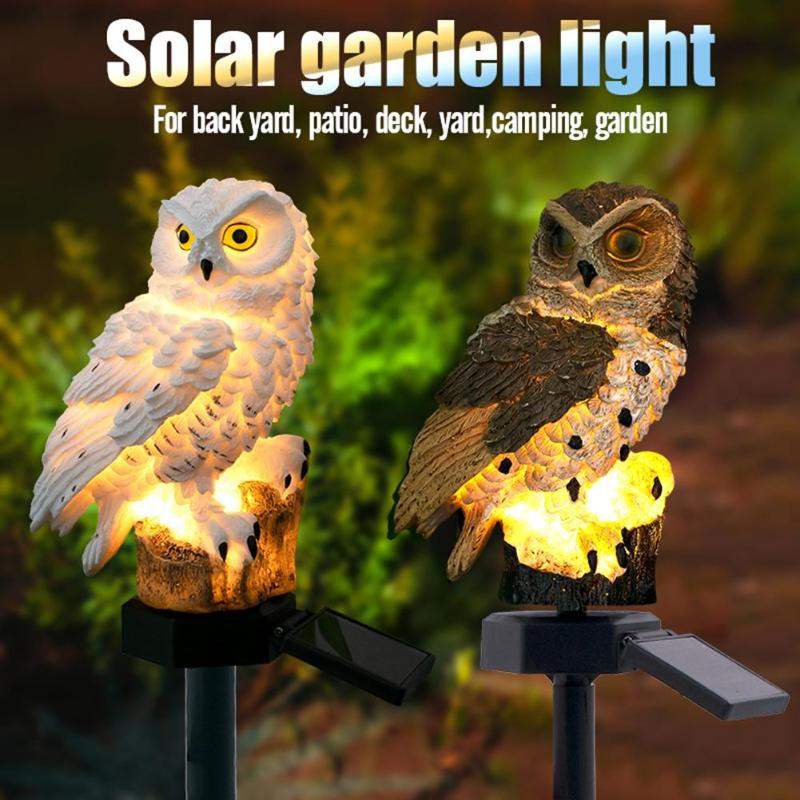 Owl Solar Light With Solar LED Panel Fake Owl Waterproof IP65 Outdoor Solar Powered Led Path Lawn Yard Garden Lamps 2019 New