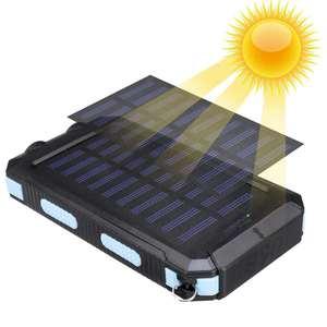 Image 5 - Водонепроницаемый портативный внешний аккумулятор на солнечной батарее, 20000 мач, зарядное устройство на солнечной батарее для сотового телефона, зарядные порты с двумя USB портами, светодиодная подсветка, карабин, компас