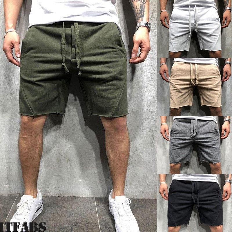 Fashion Casual Loose Solid Men's Sports Short Pants Pocket Drawstring Summer Jogging Trousers Shorts Jogger Gym Clothes
