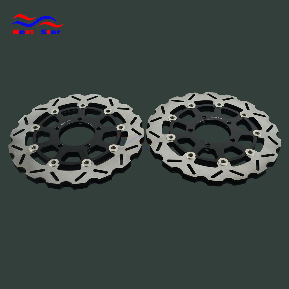 Motorcycle 300mm Floating <font><b>Disc</b></font> Left Right <font><b>Brake</b></font> <font><b>Discs</b></font> For <font><b>KAWASAKI</b></font> ZX6RR ZX6R 600 636 ER6F ER6N <font><b>Z750</b></font> Z750R Z1000SX Z1000 ZX10R image