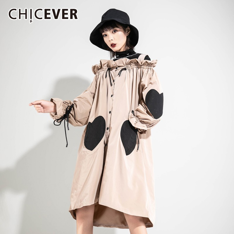 CHICEVER 2019 Spring Autumn   Trench   Coat For Women's Windbreakers Lantern Sleeve Loose Hit Colors Lace Up Ruffles Windbreaker New